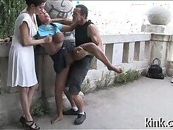Ballgagged old man punished youngster
