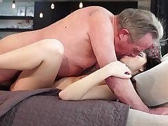 Amateur girlfriend gets banged by grandpa