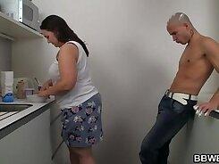 BBW working hard in the kitchen with cum on her body