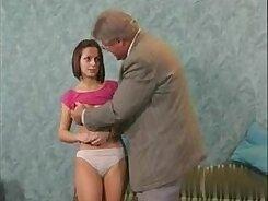 Big dark haired teenie minx blows staff dick of grandpa at home