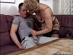 Blonde Granny In Stockings Gets Fucked
