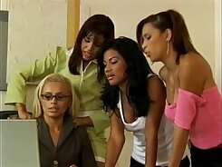 Bodacious latin lesbians suck and get their sweet pussies after