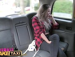 Blonde with huge tits gets solid pussy fucked in a taxi