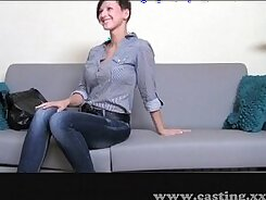 Confused cute blonde gets groped for money on a casting
