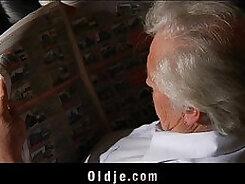 Chesty grandpa pleasuring his fat tit young facia his bald cock