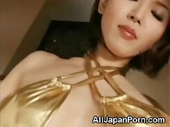Attractive Japanese babe Riko is sodomized before pummeling herself off