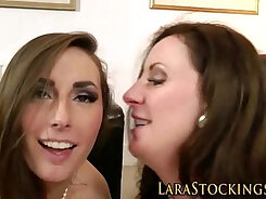 Big ass of horny MILF in stockings