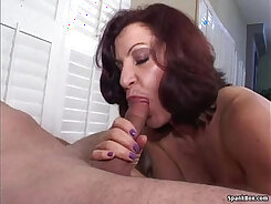 Blonde mom gives a blowjob to pawn guy in the pawnshop