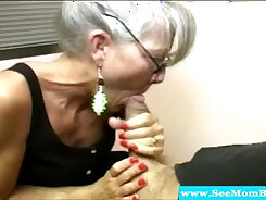 Blonde horny mature mom sucking hard cock and fucking passionately