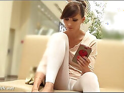 All SUiting up in hot white pantyhose and slipping a bullet hidden