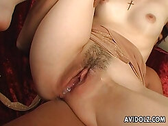 Amorous Japanese couple love lick each others juicy throats