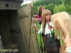 Chesty babe eats hot piss from a long cock