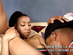 hot ebony hottie works her shaved pussy all on the table