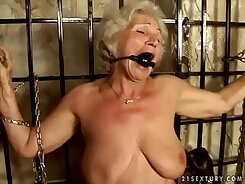 Curly blonde granny with huge tits enjoy pounding a stud