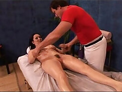 Big-tit dark haired MILF sixtynines as she rides massive object in massage