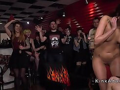 Public humiliation for needy chick from demolished BDSM house