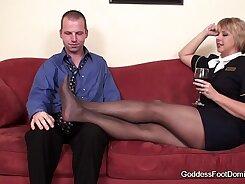 Classy footjob and blowjob with Gina black pantyhose