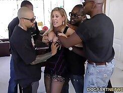 Amazing Tits Babe Gang Banged By Big Ebony Cock