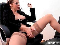 Pervert secretary rides big dick